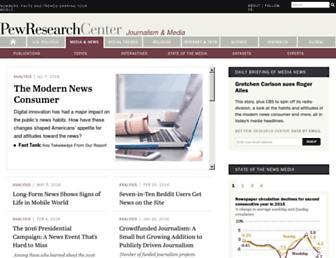 Main page screenshot of journalism.org