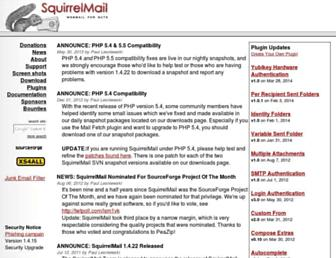 Main page screenshot of squirrelmail.org