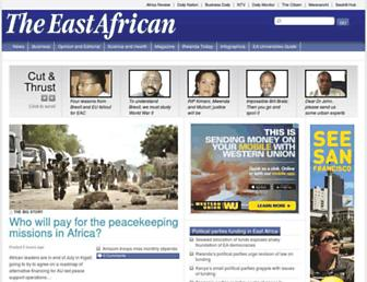 Main page screenshot of theeastafrican.co.ke