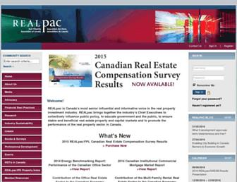Main page screenshot of realpac.ca
