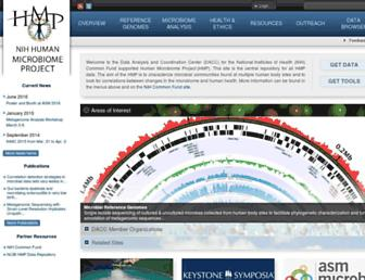 Main page screenshot of hmpdacc.org