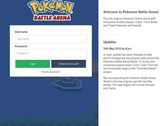 Main page screenshot of pokemonbattlearena.net