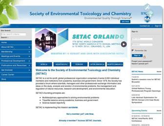 Main page screenshot of setac.org