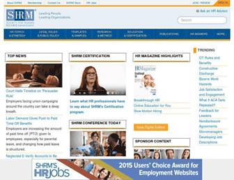Main page screenshot of shrm.org