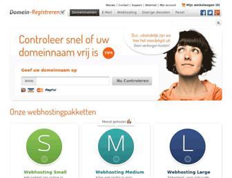 Main page screenshot of domein-registreren.nl