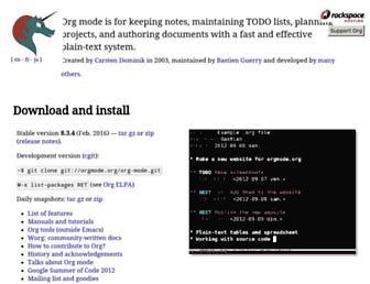 Main page screenshot of orgmode.org