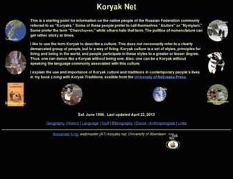 Main page screenshot of koryaks.net