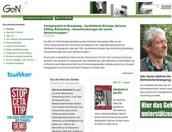 Main page screenshot of gen-ethisches-netzwerk.de