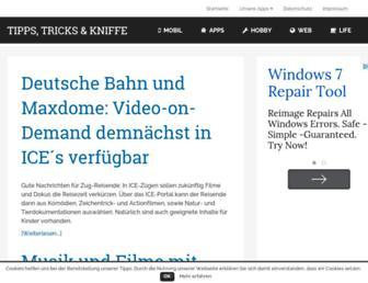 Main page screenshot of tipps-tricks-kniffe.de