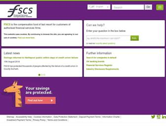 fscs.org.uk screenshot
