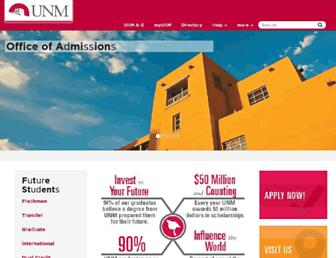 admissions.unm.edu screenshot
