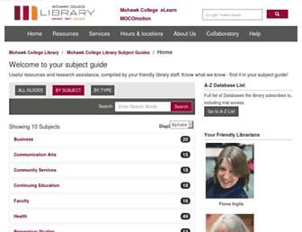 mohawkcollege.ca.libguides.com screenshot