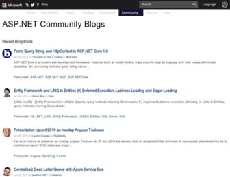 Main page screenshot of weblogs.asp.net