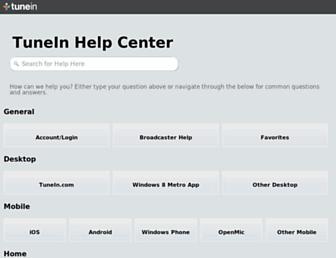 help.tunein.com screenshot
