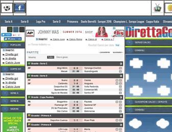 Main page screenshot of direttagol.it