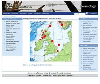 Main page screenshot of earthquakes.bgs.ac.uk