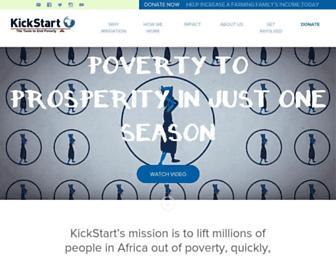 Main page screenshot of kickstart.org