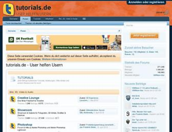 Main page screenshot of tutorials.de
