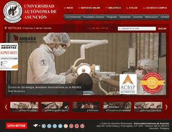 Main page screenshot of uaa.edu.py
