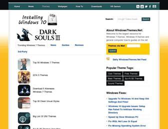 Main page screenshot of windows7themes.net