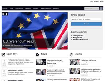 Main page screenshot of westminster.ac.uk