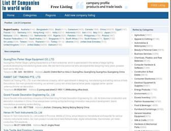 listofcompaniesin.com screenshot