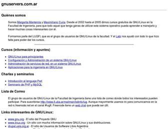Main page screenshot of gnuservers.com.ar