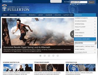 Main page screenshot of fullerton.edu