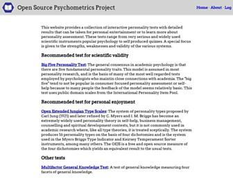 openpsychometrics.org screenshot