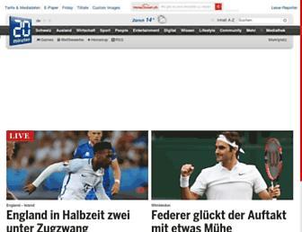 Main page screenshot of 20min.ch