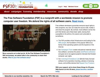 Main page screenshot of fsf.org