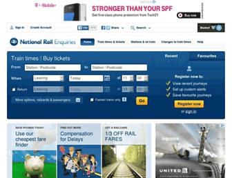 Main page screenshot of nationalrail.co.uk