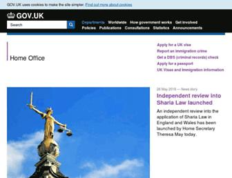 Main page screenshot of homeoffice.gov.uk