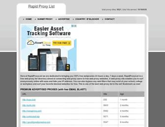 Main page screenshot of rapidproxylist.org