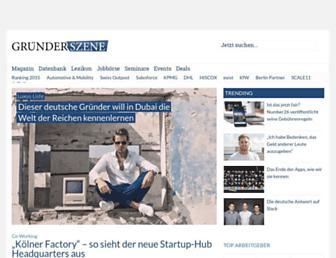 Main page screenshot of gruenderszene.de