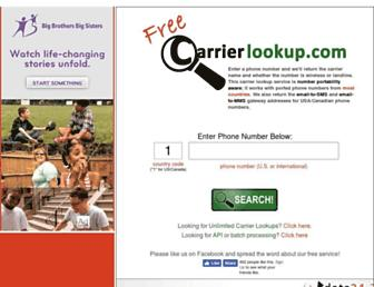 freecarrierlookup.com screenshot