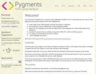 Main page screenshot of pygments.org