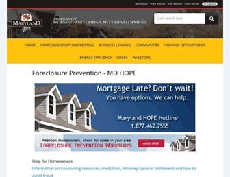 Main page screenshot of mdhope.org