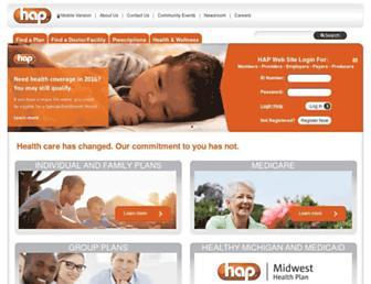 Main page screenshot of hap.org