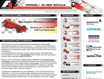 Main page screenshot of f1inschools.de