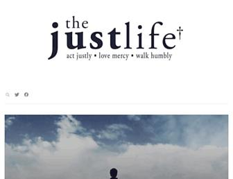 Main page screenshot of thejustlife.org