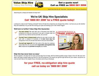 Main page screenshot of valueskiphire.co.uk