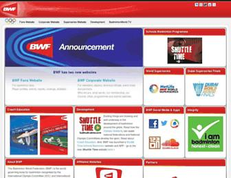 Main page screenshot of bwfbadminton.org