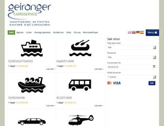 Main page screenshot of geirangerfjord.no