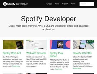 developer.spotify.com screenshot