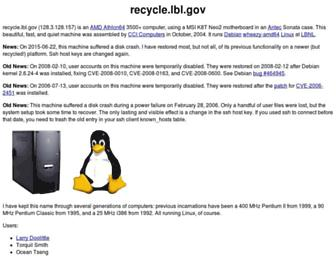 Main page screenshot of recycle.lbl.gov