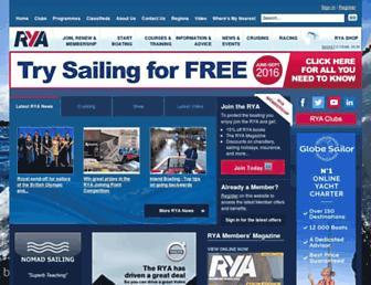 Main page screenshot of rya.org.uk