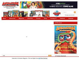 Main page screenshot of animationmagazine.net