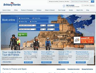 Main page screenshot of brittany-ferries.co.uk