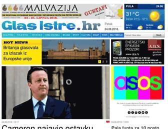Main page screenshot of glasistre.hr